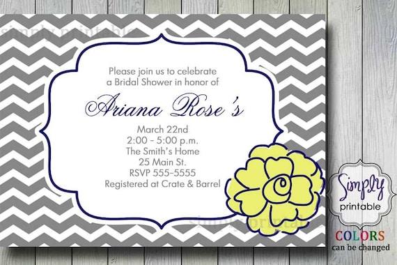 Chevron Flower Bridal Shower Invitation