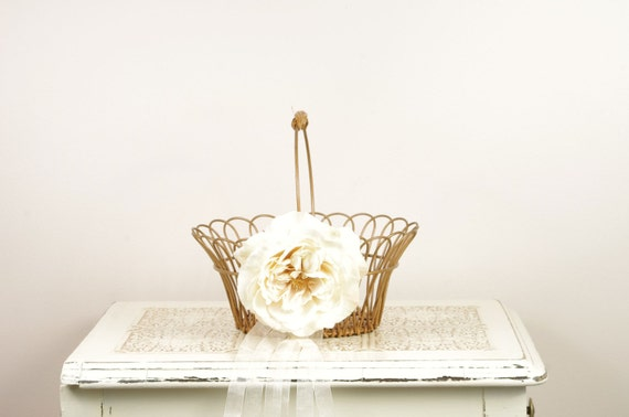 Vintage Metal and Wicker Basket with Ivory English Rose - Beautiful Flower Girl Basket