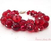 Red Cluster Bracelet, Red Beaded Bracelet, Swarovski Crystals, Bridesmaid Bracelet, Wedding Jewelry, Red Bracelet
