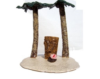 "Handmade Tiki Ceramic Sculpture  Art Pottery This Tiki Is Large And In Charge ""Happy Hour on Tiki Island""  by Linda Sapp Long"