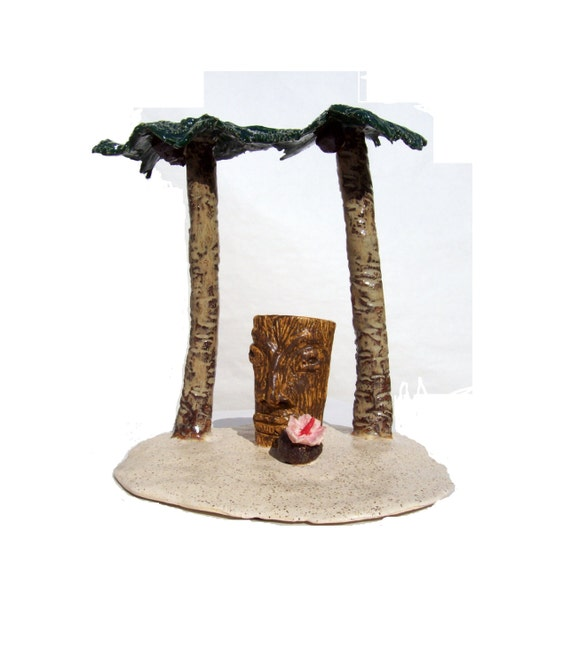 """Handmade Tiki Ceramic Sculpture  Art Pottery This Tiki Is Large And In Charge """"Happy Hour on Tiki Island""""  by Linda Sapp Long"""