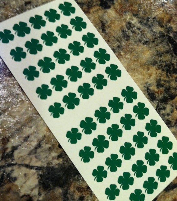 FLASH SALE Half Off Green  ONLY Clover Nail Decals- Set of 50