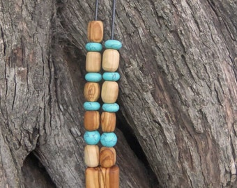Olive Wood Worry Beads or Komboloi with Turquoise gemstones