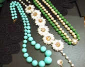 1950's Necklaces Double Strand Art Glass Plastic White Flowers Turquoise Plastic Bead 1950s Mid Century Jewelry Lot