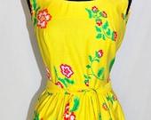 Vintage 60s 70s Sun Dress YELLOW Flowers by Malia Sundress Small