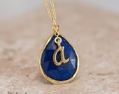 Personalized Necklace - Lapis Lazuli Necklace - Script Letter - Monogram Necklace - Gold Necklace - Personalized Jewelr