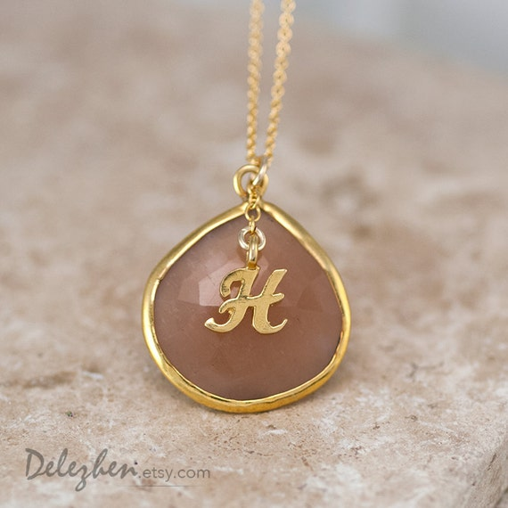 Items similar to Peach Moonstone Necklace - Script Letter ...
