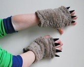 Kids Fingerless Gloves -   Mocha with Black Claws - pretend animal paws