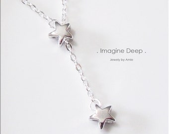 50% off SPECIAL - Lariat Star Necklace - Silver Plated Stars