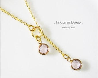 50% off SPECIAL - Light Purple, Lilac, Lavender Lariat Necklace - Gold Plated Soft Light Amethyst-Like Swarovski Crystal