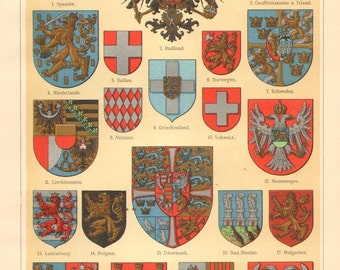 1905 Coat of Arms of European Countries Original Antique Chromolithograph