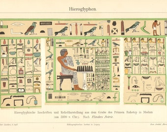 1904 Hieroglyphs from the Ancient Egypt Original Antique Chromolithograph to Frame