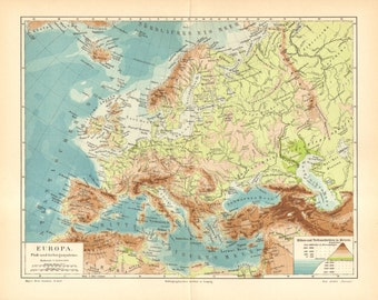 1903 Original Antique Relief Map, River and Mountain System of Europe