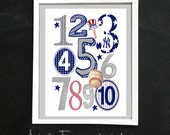 NY YANKEES 123 Number Nursery Art Print