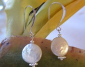 White Coin Pearl Dangle Drop Earrings