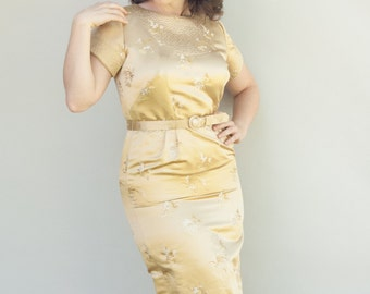 Vintage 1960's Dress - Au 79 - Amazing Gold Silk Wiggle Bombshell Shantung Dress