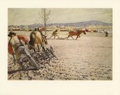 Vintage Art Print, Carl Larsson, Ploughing, Swedish Artist, Printed in 1976, Antique Picture