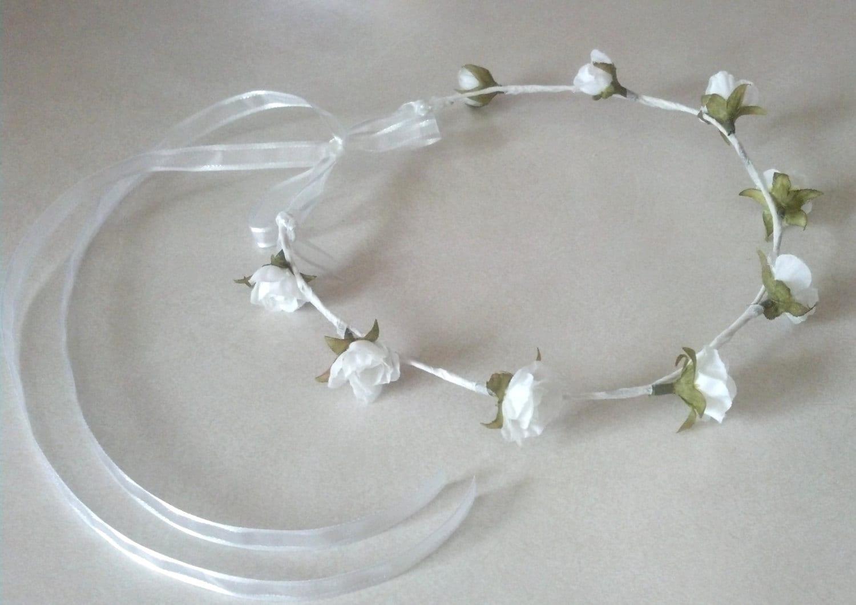 First Communion Flower Crown Bridal Headpiece Flower Girl Halo