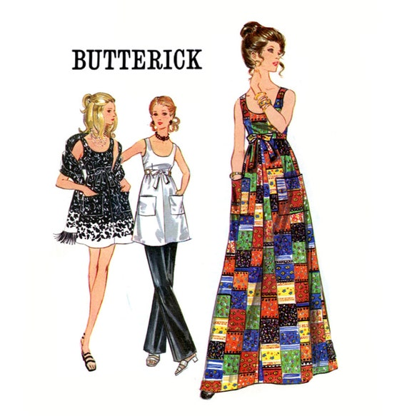 Evening Dress Pattern Butterick 5782 Misses 1970s Scoop Neck Dress and Stole Tunic & Pants Bust 34 or 36 Womens Vintage Sewing Pattern UNCUT