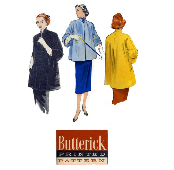 1950s Coat Pattern Butterick 6490 Bust 38 Womens Vintage Sewing Pattern Cuffed Kimono Sleeve Day or Evening Clutch Coat Swing Era UNCUT