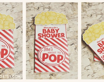 About to Pop Baby Shower Invitation - Popcorn Invitation - Ready to Pop Shower Sprinkle 3D Three Dimensional Printable Invite Invites