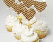 12 Recycled Cupcake Picks Chevron Heart on Bamboo Picks - ECO FRIENDLY - Great for Weddings - Baby Showers - Birthdays