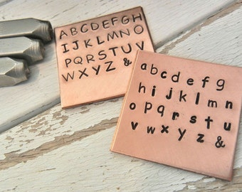 Combo Set - Metal Stamps for Hand Stamped Jewlery - 3mm LOWERCASE and UPPERCASE COMIC Font Letter Sets - Alphabet Letter Punch Stamp Set -