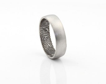 Custom Inner Fingerprint Ring - Sterling Silver Engraving Wedding Band- satin finishing,6mm