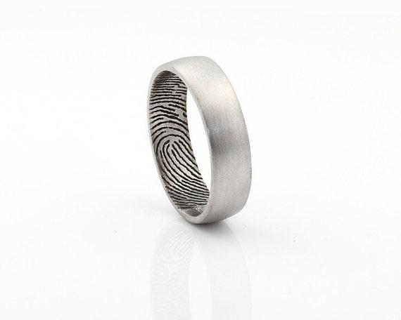 Custom Inner Fingerprint Ring - Sterling Silver Engraving Wedding Band- satin finishing,6mm