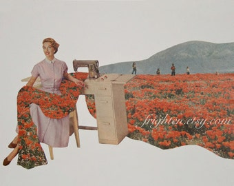Spring Paper Collage, Sewing Spring, Surreal One of a Kind Floral Art, Mother's Day