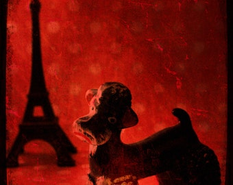 Paris Photography Retro French Poodle Eiffel Tower A Poodle in Paris Wall Art Bold Red Black photography 8x10