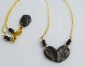 Leaf Heart Necklace, Black Polymer Clay, Gold Plated Chain