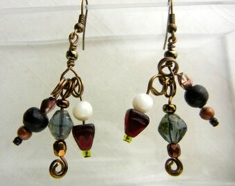 Multicolor beaded charm earrings with bronze spirals // Collage of Colors
