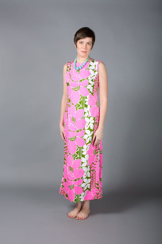 Vintage Pink Hawaiian Dress Long Pink Floral Dress