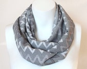 Chevron Infinity Scarf Black Gray Grey Circle Scarf Spring Scarves Stripes Striped Lightweight Scarf - LeLeni