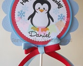 Red and Blue Penguin Smash Cake Topper