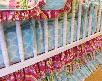 MADE to ORDER--- Kumari Garden Crib Bedding- 4 pc--