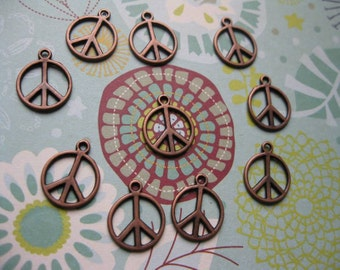 12 Peace Sign Charms in Copper Tone - C1409