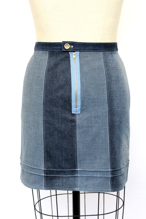fitted denim skirt with exposed zipper upcycled size 12
