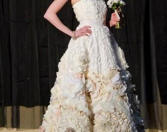 Designer Wedding Dress - One of a Kind - Flora Gown - Flower Wedding Dress