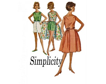 1962 Simplicity 4489 Simple to Make Size 16 Bust 36 Skirt Shorts Top sewing pattern