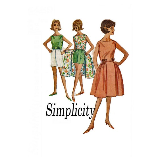 1962 Simplicity 4489 Simple to Make Size 14 Bust 34 Skirt Shorts Top
