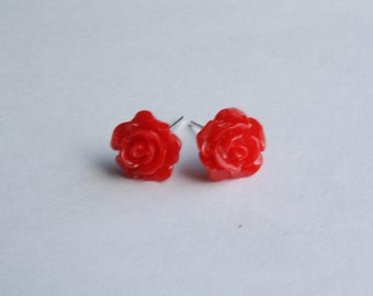 Red Rose  Earrings -  Rose Stud Earrings - Red flower earrings - Red rose studs - Red rose post earrings - Bridal party gift