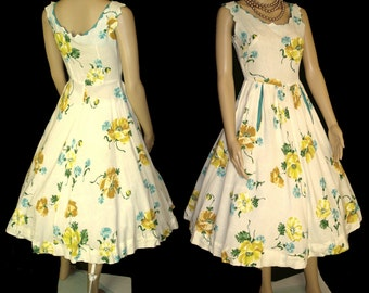 Vintage 1950s Dress . Full Circle Creme Colorful Roses Couture New Look Mad Men Rockabilly Garden Party Designer Cocktail Femme Fatale Pinup