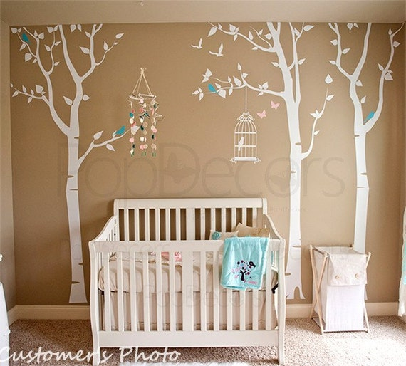 Nursery tree decals nursery wall stickers baby nursery wall for Baby room tree mural