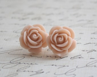 Antique Pink Rose Earrings - Blush Pink Rose Earrings -Pick from 19 Rose Colors - Bridesmaid Earrings - Blush Wedding - Antique Wedding