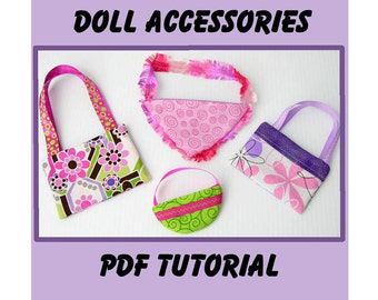 Doll Purse PDF pattern Easy Sew Accessories for dolls and girls Instant Download