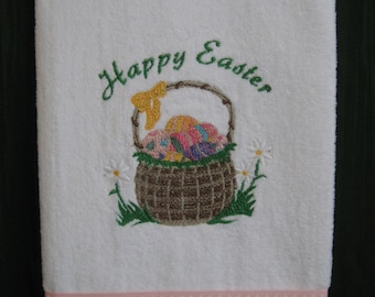 """Embroidered """"Happy Easter"""" Towel"""
