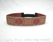 Graphic Swirl Design Ribbon Headband, Dark Coral and Pink, Comfortable, Elastic Back, Sized for Adults or Teens