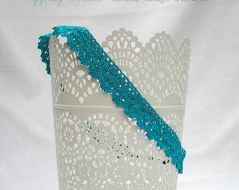Stretch Headband, Turquoise Blue Crocheted Lace, Comfortable, Elastic Back, Sized for Adults or Teens